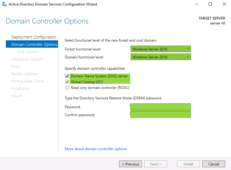 Server 2016 Domain Controller / Active Directory Setup